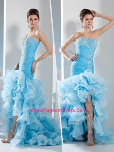 Gorgeous Mermaid Sweetheart Ruffled Layers Natural Pageant Dresses in Aqua Blue
