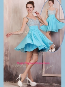 Hot Sale Straps Mini Length Beading Natural Pageant Dresses for Summer