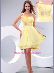 Lovely Short One Shoulder Beading and Belt Modern Pageant Dresses