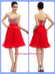 Lovely Short Sweetheart Beading Perfect Pageant Dresses in Red