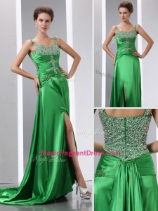 Luxurious Column Beading and High Slit Natural Pageant Dresses with Court Train