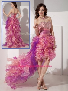 Luxurious High Low Beading Modern Pageant Dresses in Multi Color