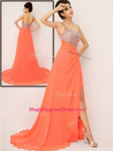 Luxurious One Shoulder Perfect Pageant Dresses with High Slit and Sequins