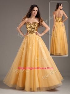 Luxurious Princess Sweetheart Sequins Long Modern Pageant Dresses in Gold