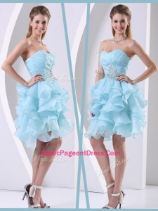 Pretty Mini Length Sweetheart Modern Pageant Dresses with Beading and Ruffles