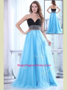 Romantic Sweetheart Beading Brush Train Modern Pageant Dresses for Graduation