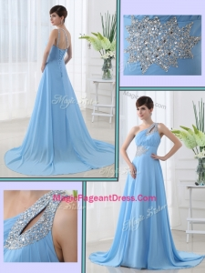 Sweet One Shoulder Brush Train Beading Modern Pageant Dresses with Lace Up