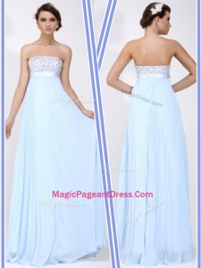 Beautiful Strapless Beading Long Perfect Pageant Dresses in Light Blue