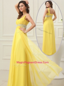 Cheap Empire One Shoulder Beading Perfect Pageant Dresses in Yellow
