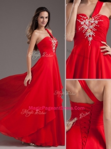 Cheap Empire One Shoulder Red Perfect Pageant Dresses with Beading