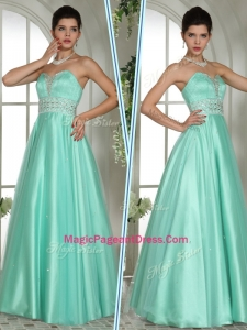 Elegant A Line Sweetheart Beading Perfect Pageant Dresses in Apple Green