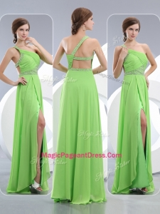 Elegant One Shoulder Spring Green Perfect Pageant Dresses with High Slit