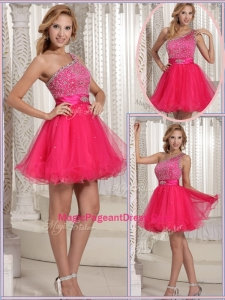 Gorgeous One Shoulder Beading Short Special Pageant Dresses for 2016
