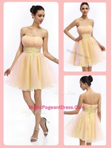 Lovely Short Strapless Lace Up Special Pageant Dresses with Beading and Ruching