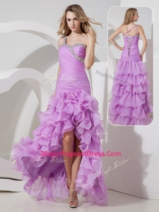 Perfect Column High Low Perfect Pageant Dresses with Ruffled Layers