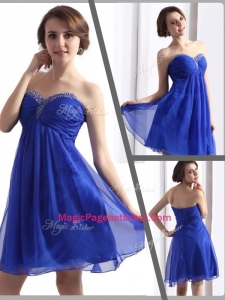 Perfect Sweetheart Beading Short Special Pageant Dresses in Blue