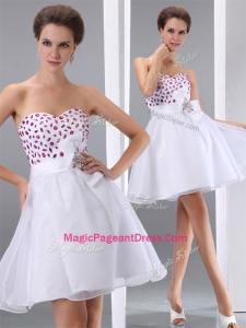 Popular Sweetheart White Short Special Pageant Dresses with Beading