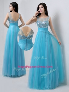 Pretty Scoop Empire Beading Perfect Pageant Dresses in Baby Blue