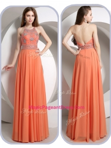 Romantic Empire Halter Top Orange Special Pageant Dresses with Beading