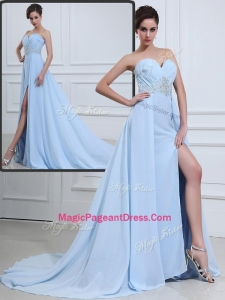 The Super Hot Brush Train Sweetheart Beading Special Pageant Dresses in Light Blue