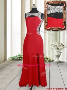 2017 Affordable Beaded Decorated Scoop Elastic Woven Satin Pageant Dress with High Slit