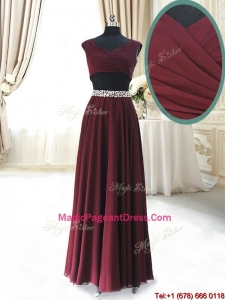 2017 Discount Two Piece Cap Sleeves Burgundy Pageant Dress with Beaded Decorated Waist