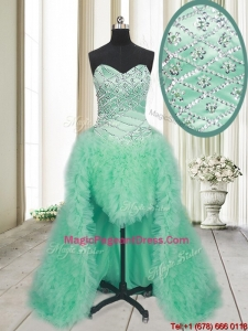 2017 Elegant High Low Brush Train Beaded and Ruffled Pageant Dress in Apple Green