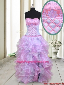 2017 Gorgeous Strapless Lavender and Lilac Organza Pageant Dress with Beading and Ruffles