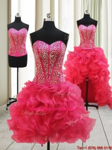 2017 Hot Sale Visible Boning High Low Detachable Pageant Dresses with Beaded Bodice and Ruffles