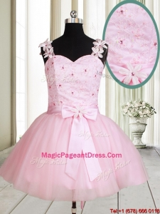 2017 New Applique Decorated Straps Baby Pink Short Pageant Dress with Beading and Bowknot
