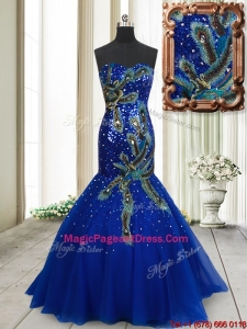 2017 Perfect Mermaid Brush Train Tulle Pageant Dress with Sequins and Peacock Appliques