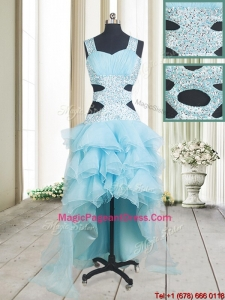 2017 Popular Beaded and Ruffled Layers High Low Aquamarine Pageant Dress with Criss Cross
