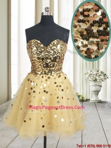 Best Selling Sequined Bodice Zipper Up Organza Pageant Dress in Champagne