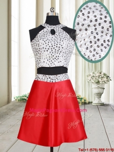 Discount Two Piece Halter Top Red and White Short Pageant Dress with Beaded Bodice