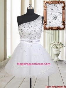 Fashionable One Shoulder Beaded Bodice Zipper Up White Pageant Dress in Tulle