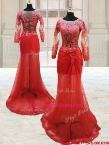 Popular Scoop Laced Column Brush Train Red Pageant Dress with Long Sleeves