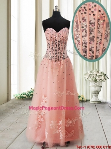 Pretty Visible Boning See Through Applique and Beaded Long Pageant Dress in Tulle