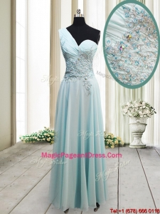 Unique One Shoulder Chiffon Light Blue Pageant Dress with Appliques and Beading
