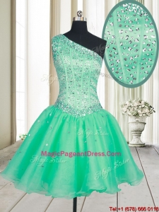 Visible Boning One Shoulder Beaded Bodice Organza Pageant Dress in Turquoise