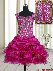 2017 Pretty Visible Boning Straps Beaded Bodice and Ruffled Pageant Dress in Fuchsia