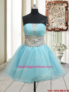 Lovely A Line Strapless Zipper Up Aqua Blue Pageant Dress with Beading