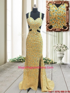 Popular Straps Cut Out Waist Backless Pageant Dress with Beading and High Slit