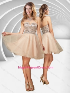 2016 New Arrivals V Neck Champagne A Line Pageant Dress with Sequins