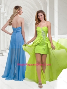 Formal Chiffon Beaded Yellow Green Long Pageant Dress with Empire