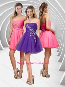 Modern A Line Applique with Beading Short Pageant Dress in Tulle