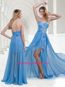 Modern Zipper Up Baby Blue Long Pageant Dress with Beading