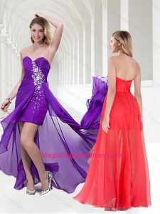 Natural Beaded Empire Chiffon Long Pageant Dress in Purple