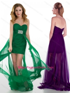 Natural High Low Tulle Beaded Pageant Dress with Brush Train