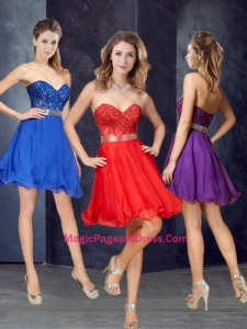 Elegant A Line Laced and Belted Short Teenage Pageant Dress in Chiffon