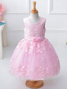 Baby Pink Scoop Zipper Appliques and Hand Made Flower Child Pageant Dress Sleeveless